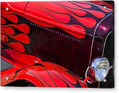 Red Flames Hot Rod Acrylic Print by Garry Gay