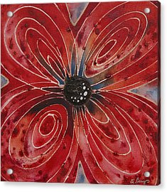 Red Flower 2 - Vibrant Red Floral Art Acrylic Print by Sharon Cummings