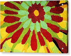 Red Flower Rug Acrylic Print by Janette Boyd