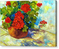 Red Geraniums I Acrylic Print by Peggy Wilson