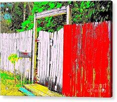 Red Grey Gate 0552 14 Acrylic Print by Nina Kaye