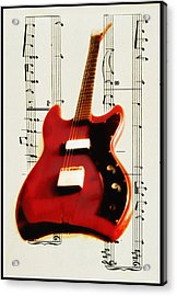 Red Guitar Acrylic Print by Bill Cannon
