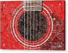 Red Guitar - Digital Painting - Music Acrylic Print by Barbara Griffin