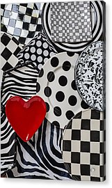 Red Heart Plate On Black And White Plates Acrylic Print by Garry Gay