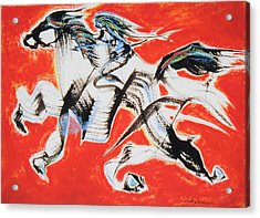 Red Horse And Rider Acrylic Print by Asha Carolyn Young