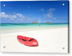 Red Kayak At Lanikai Acrylic Print by M Swiet Productions