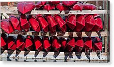 Red Kayaks Acrylic Print by Thomas Marchessault