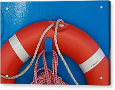 Red Life Belt On Blue Wall Acrylic Print by Ulrich Kunst And Bettina Scheidulin