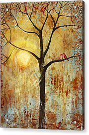 Red Love Birds In A Tree Acrylic Print by Blenda Studio
