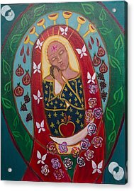 Red Madonna Acrylic Print by Havi Mandell