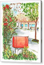 Red Mail Box In Calabazas - California Acrylic Print by Carlos G Groppa
