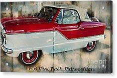 Red Mini Nash Vintage Car Acrylic Print by Peggy  Franz