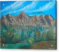 Red Mountain Creek Acrylic Print by Peter Kallai