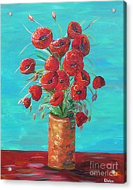 Red On My Table  Acrylic Print by Eloise Schneider