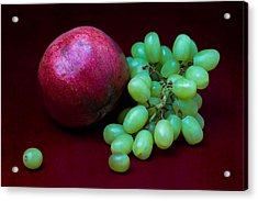 Red Pomegranate And Green Grapes Acrylic Print by Alexander Senin