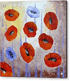 Red Poppies  Acrylic Print by Georgeta  Blanaru