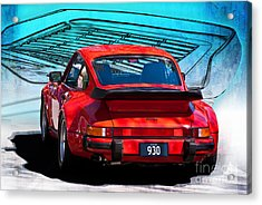 Red Porsche 930 Turbo Acrylic Print by Stuart Row