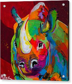 Red Rhino Acrylic Print by Tracy Miller