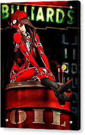 Red Robot On A Saturday Night  Acrylic Print by Bob Orsillo