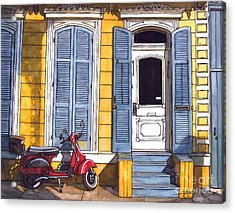 Red Scooter With Yellow House And Blue Shutters Acrylic Print by John Boles