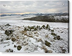 Red Screes Above Ambleside With Mist Acrylic Print by Ashley Cooper
