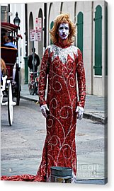 Red Sequined Mime Acrylic Print by Kathleen K Parker