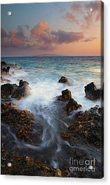 Red Sky Over Kahoolawe . .  Acrylic Print by Mike  Dawson
