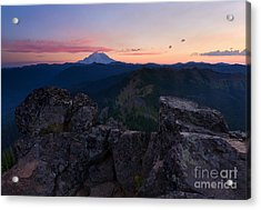 Red Sky Over Rainier Acrylic Print by Mike  Dawson