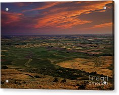 Red Sky Over The Palouse Acrylic Print by Mike  Dawson