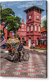 Red Square Malacca Acrylic Print by Adrian Evans