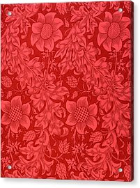 Red Sunflower Wallpaper Design, 1879 Acrylic Print by William Morris