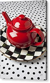 Red Teapot On Checkerboard Plate Acrylic Print by Garry Gay