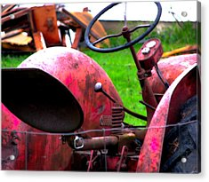 Red Tractor Rural Photography Acrylic Print by Laura  Carter