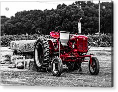 Red Tractor Acrylic Print by Steven  Taylor