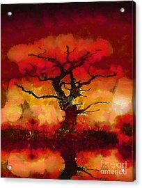 Red Tree Of Life Acrylic Print by Pixel Chimp