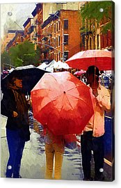 Red Umbrellas In The Rain Acrylic Print by RC deWinter