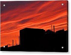 Red Urban Sky Acrylic Print by Diane Lent