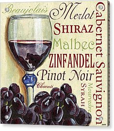 Red Wine Text Acrylic Print by Debbie DeWitt