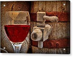 Red Wine With Tapped Keg Acrylic Print by Tom Mc Nemar