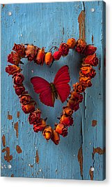 Red Wing Butterfly In Heart Acrylic Print by Garry Gay