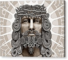 Redeemer - Modern Jesus Iconography - Copyrighted Acrylic Print by Christopher Beikmann
