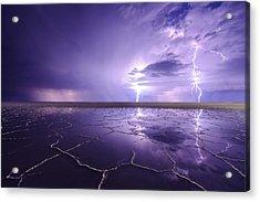 Bonneville Salt Flats Reflecting Storm Acrylic Print by Dustin  LeFevre