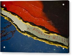 Reflection In Water Of Red Boat Acrylic Print by Raimond Klavins