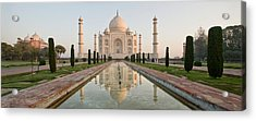 Reflection Of A Mausoleum In Water, Taj Acrylic Print by Panoramic Images