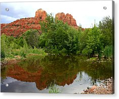 Reflection Of Cathedral Rock Acrylic Print by Carol Groenen