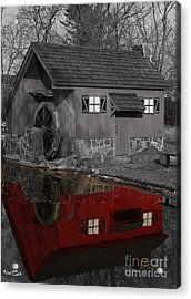 Reflection Of Red Mill Acrylic Print by Bill Woodstock