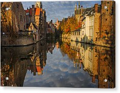 Reflections Of Bruges Acrylic Print by Chris Fletcher