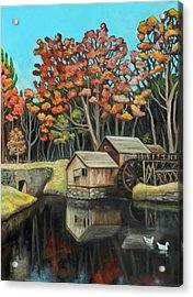 Reflections Of Mabry Mill Acrylic Print by Eve  Wheeler