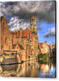 Reflections Of Medieval Buildings Acrylic Print by Juli Scalzi