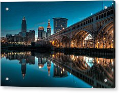 Reflections On The Cuyahoga Acrylic Print by At Lands End Photography